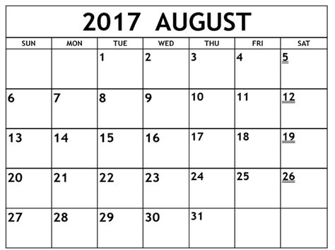 Calendar October 2017 Word August 2017 Calendar Ms Word