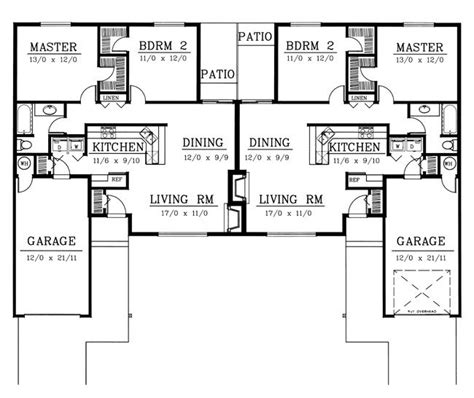 ranch duplex floor plans ranch traditional multi family plan 91615 traditional