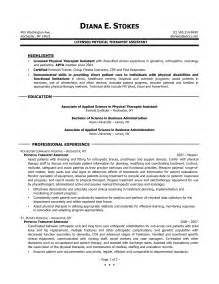 occupational therapy resume exles assistant physiotherapist resume physical therapist