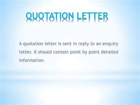 Business Letter Response To The Quotation business letter
