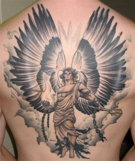 warrior angel tattoo design on back tattooshunt com