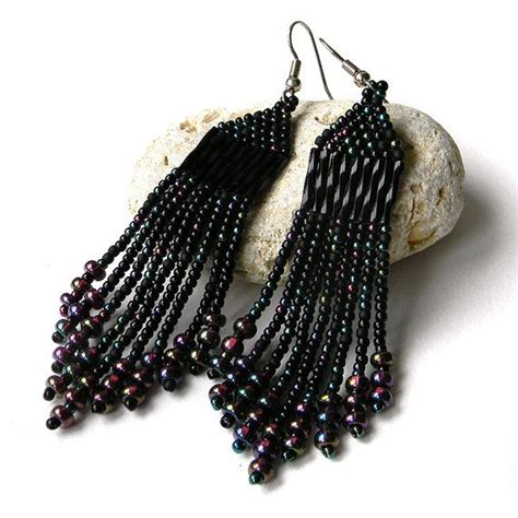 fringe beaded earrings black beaded earrings beadwork jewelry black seed by
