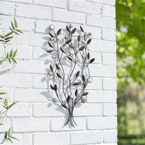 metal garden wall outdoor garden metal wall decor leaf bunch 64cmh patio indoor