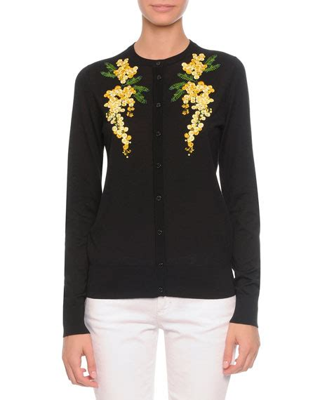 Floral Embroidered Cardigan dolce gabbana floral embroidered knit cardigan black