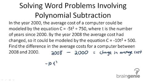 Polynomial Word Problems Worksheet by Subtraction Of Polynomials Exercises With Answers