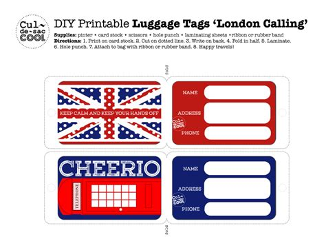 luggage tag card template diy printable luggage tags calling