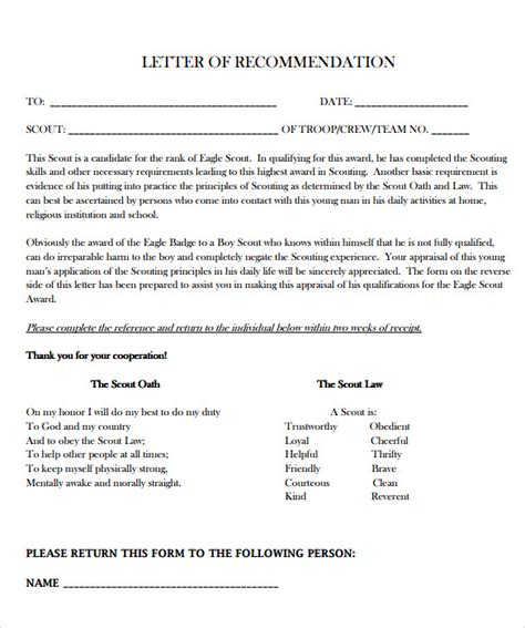 Reference Letter Exle For Eagle Scout Sle Eagle Scout Letter Of Recommendation 9 Documents In Pdf Word