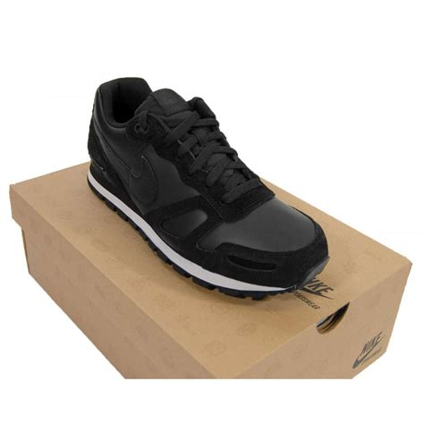 nike air waffle trainer leather black mens shoes from