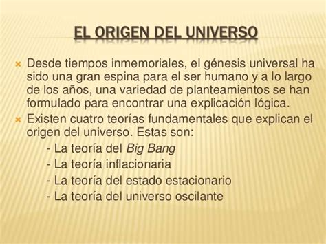 el origen del universo el origen del universo