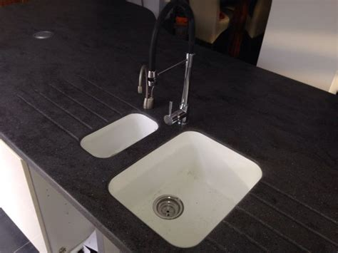 Corian Integral Sink by Corian Lava Rock Worktops With Integrated Glacier White
