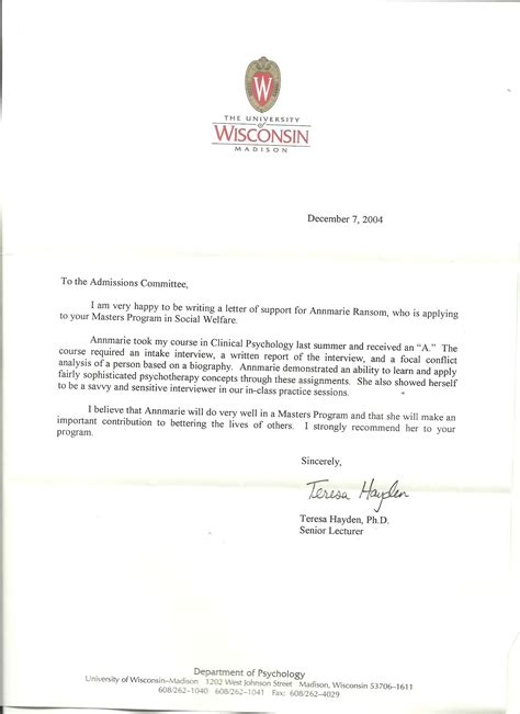 graduate school recommendation letter academic reference