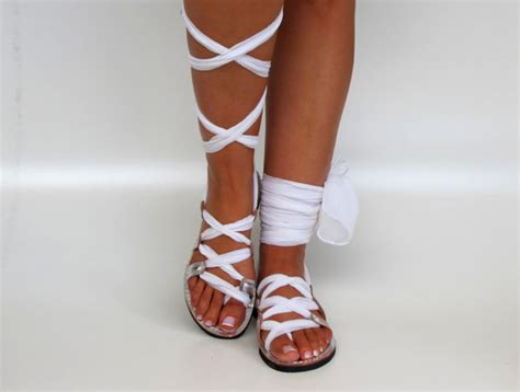 white lace up sandals white lace up leather sandals unique design with silk