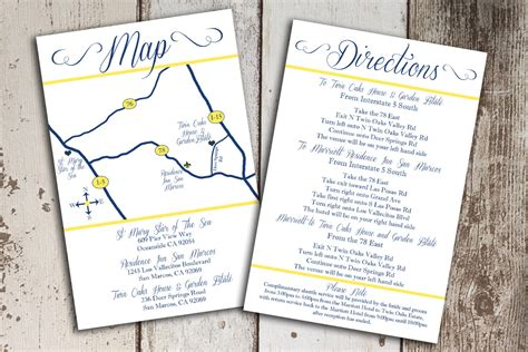 wedding invitation map template custom wedding map and direction invitation insert