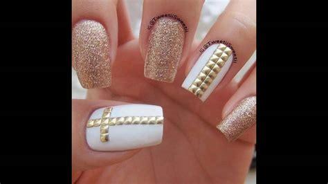 imagenes de uñas en blanco y plata dise 241 os de u 241 as decoradas blancas con dorado youtube