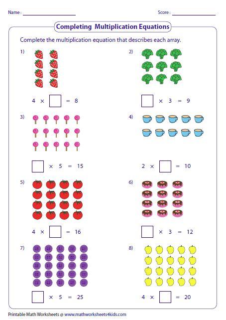 Arrays Worksheets by Multiplication Models Worksheets