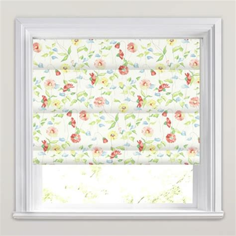 pink patterned roman blind red pink green blue cream daisy chain patterned roman