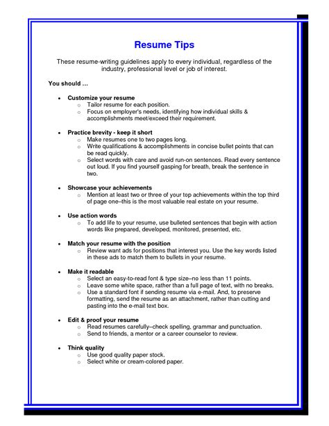 Tips On A Resumes 50 Best Templates