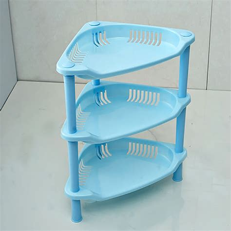 3 tier plastic corner shelf organizer bathroom kitchen