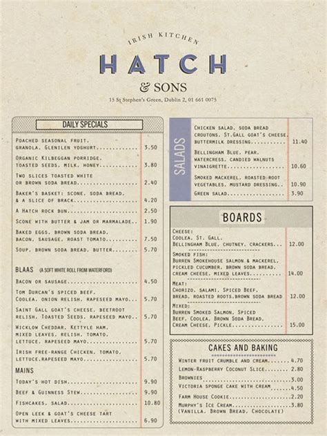one page layout menu links hatch pdf 011 35 beautiful restaurant menu designs menu