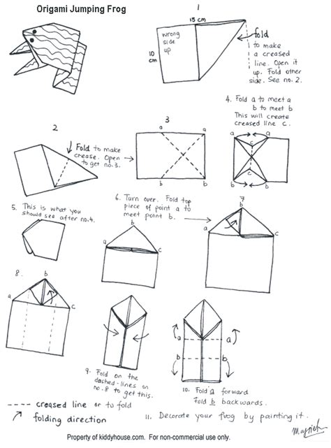 Origami Frog Diagram - frog craft origami jumping frog