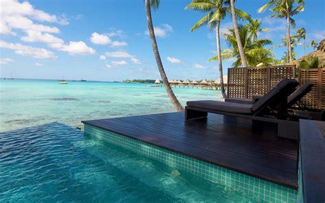 nature landscape resort beach atolls palm trees sea