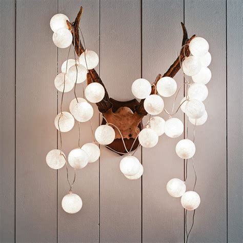 Cotton Lights White Cotton Ball String Lights Decorative String