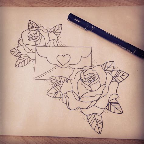 envelope tattoo neo traditional envelope and roses design tattoos