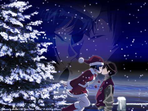 anime wallpaper hd christmas merry christmas anime girl boy night kiss hd wallpaper