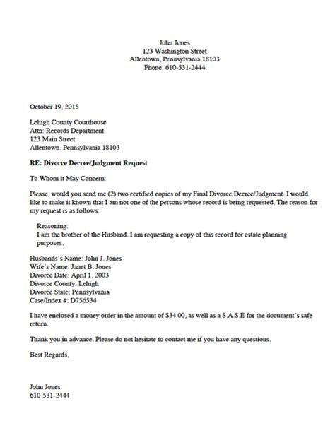 Divorce Request Letter Divorce Source Divorce Record Request Letter