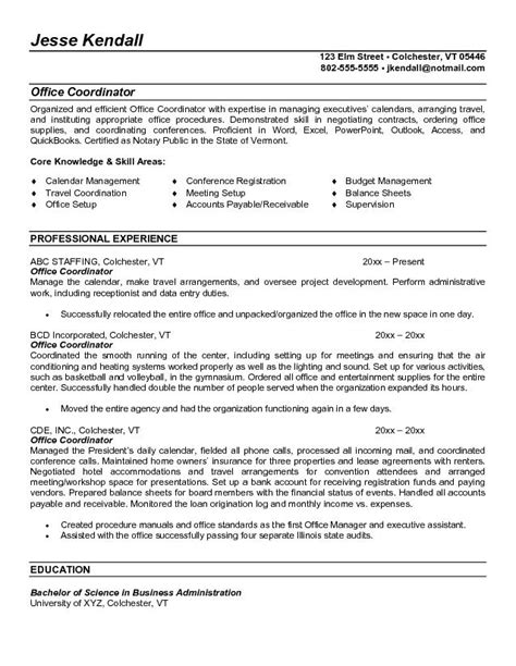 coordinator resume sle facilitator resume sle 28 images resume for project