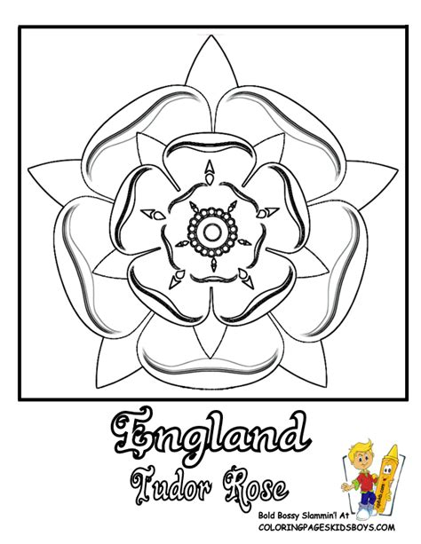 Tudor Rose Coloring Page | rose flowers coloring pages free yescoloring rose