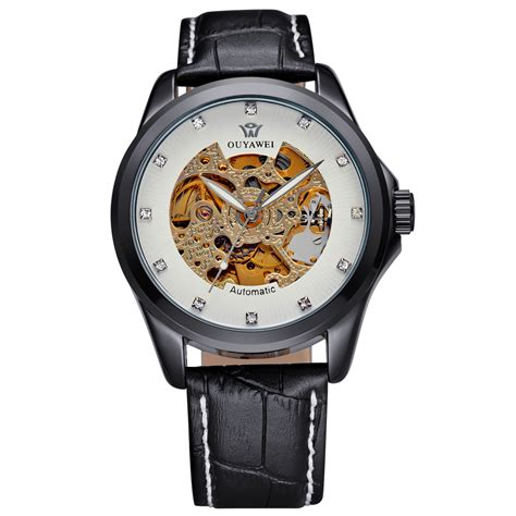 Hemat Ouyawei Skeleton Leather Automatic Mechanical Oyw1 ouyawei skeleton leather automatic mechanical oyw1313 black white
