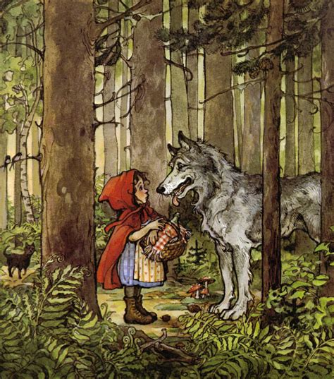 Little Red Riding Hood And Wolf Illustration | little red riding hood vintage children s print by