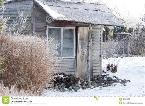 Shedding Winter by Shed In The Winter In The Orchard Stock Photo Image