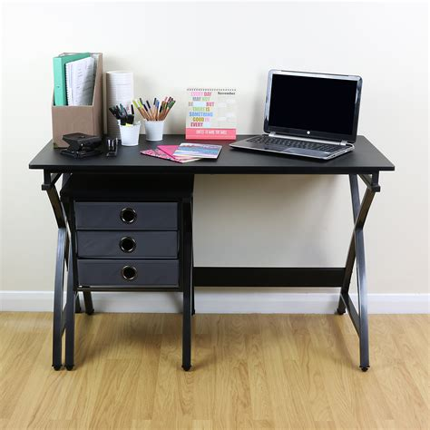 Bedroom Computer Desk Uk Black Rectangular Computer Desk Table Draw Unit For Home