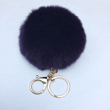 Black Furball Bag Charm fur pom pom keychain rex rabbit fur from yogastudio55