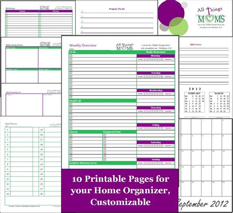 printable home planner pages search results for home bill organizer template