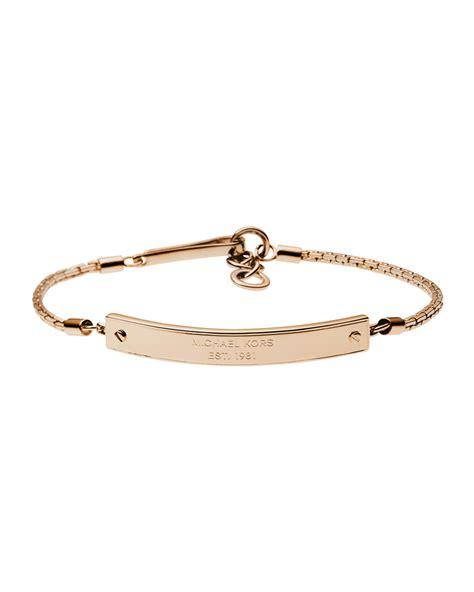 michael kors logoplate bracelet in pink gold lyst