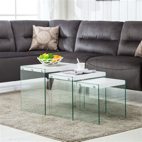 modern nest of 3 white coffee table side end table living
