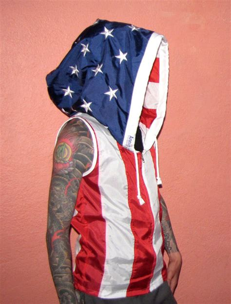 Handmade Jackets - embroidered american flag hoodie handmade by rechercheclothing