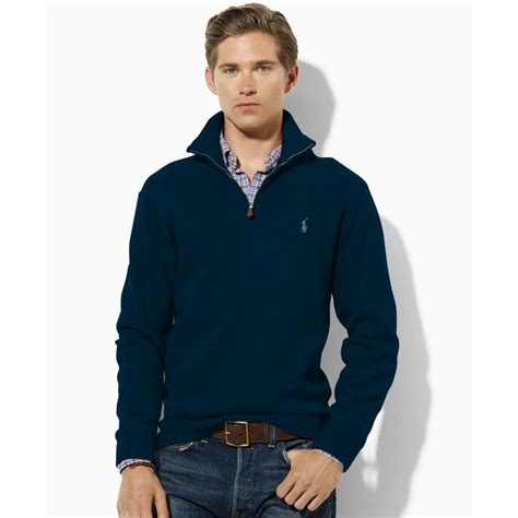 Sweater Baseball Polos Cotton Fleece lyst ralph polo fleece half zip sweater in blue for