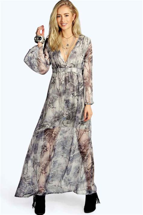 Dress Sofia Grey Maxi sofia grey print wide sleeve woven maxi dress at boohoo