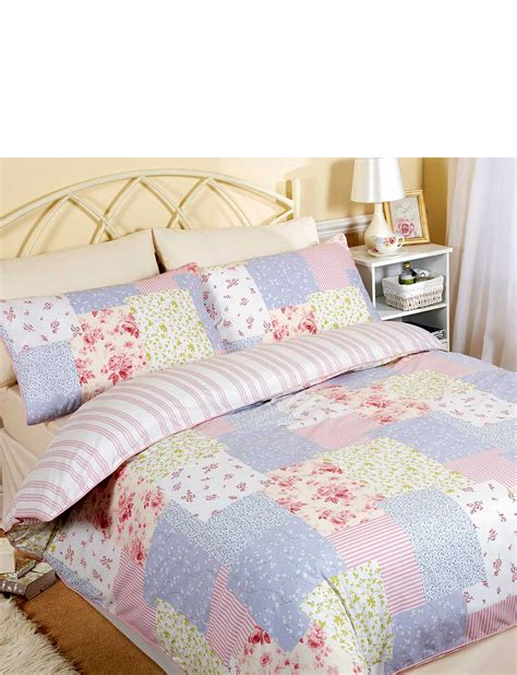 patchwork bedding catherine vintage patchwork quilt cover pillowcase set by vantona home