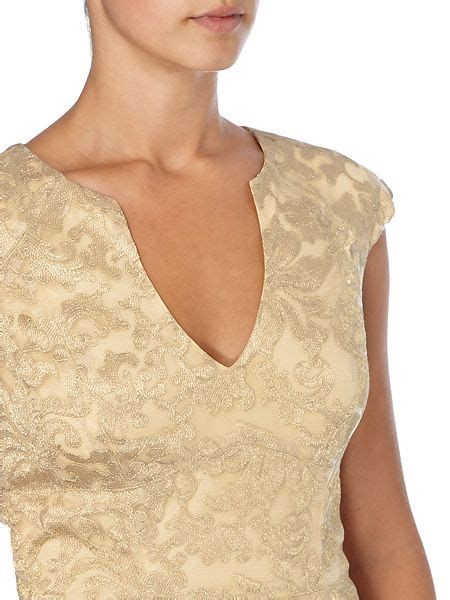 js collections v neck metallic lace gown gold house