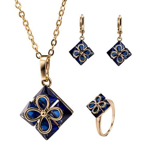 Rhinestone Clover Necklace blue rhinestone clover pendant necklace set rosegal