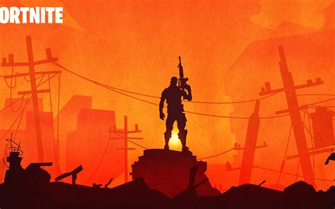 fortnite warrior silhouette  sunset hd  wallpaper