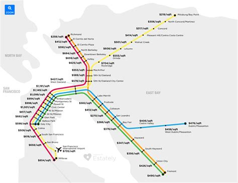 map of with stops bay area home prices by transit stop estately