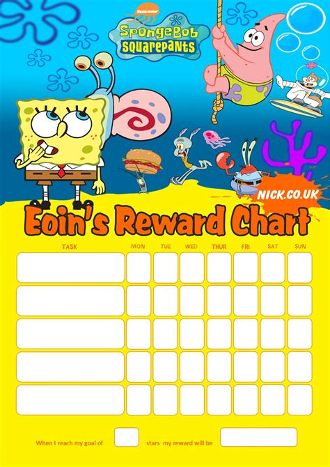 free printable reward charts spongebob 9 best images of spongebob potty training chart free