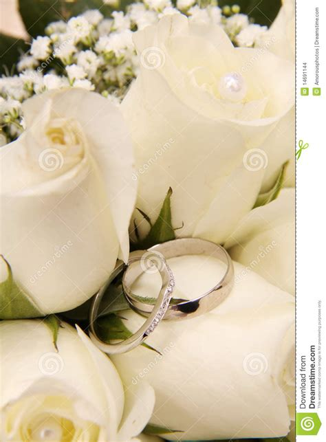 wedding rings and white roses stock images image 14691144