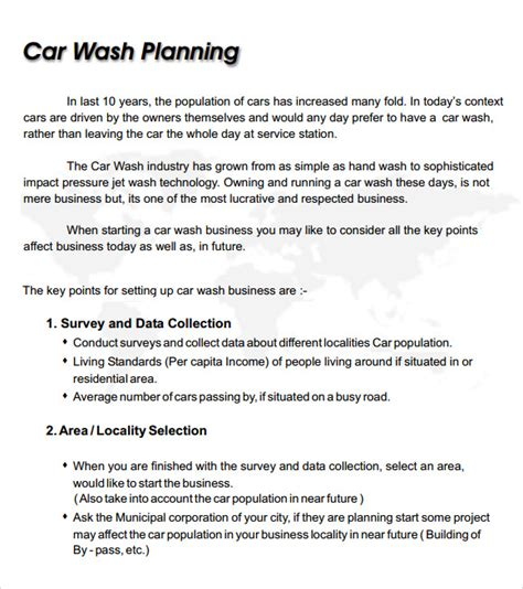 Business Letter For Car Wash Car Wash Business Plan Template 8 Free Documents In Pdf